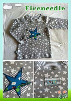 Raglan Shirt mit Flatlocknähten für meinen Enkelsohn. Die Applikation habe ich nach einer Anleitung von Farbenmix genäht.