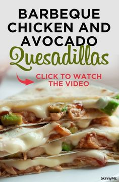 Barbeque Chicken and Avocado Quesadillas Enjoy these skinnied up traditional quesadillas with low-fat cheese, whole wheat tortillas, avocado, chicken, and barbeque sauce for a nice zing of flavor. Avocado Recipes, Lunch Recipes, Healthy Dinner Recipes, Mexican Food Recipes, Healthy Snacks, Cooking Recipes, Fast Recipes, Avocado Ideas, Healthy Wraps