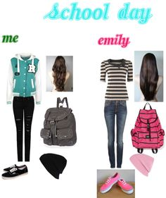 """""""Me And Emily At School"""" by blahgal555 ❤ liked on Polyvore"""
