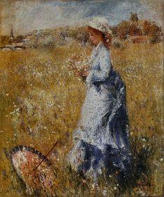 L'Ombrelle renversée(circa 1872) by Pierre-Auguste Renoir (1841–1919) oil on canvas.  ClarkArtInstitute.  Renoir, peintre du bonheur: 1841-1919, de Gilles Néret, Köln, Taschen, 2001, p. 59. ISBN 9783822857410. Wikimedia.