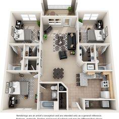 Apartment Layout, Apartment Design, 3d House Plans, 4 Bedroom Apartments, Architectural Design House Plans, Apartment Floor Plans, House Inside, Sims House, Home Design Plans