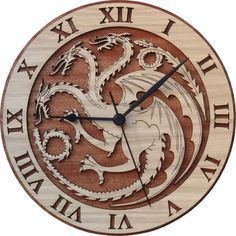 Stunning House Targaryen Wood Clock, inspired by the Game of Thrones books written by George R.R. Martin.  Made from two pieces pasted with veneer