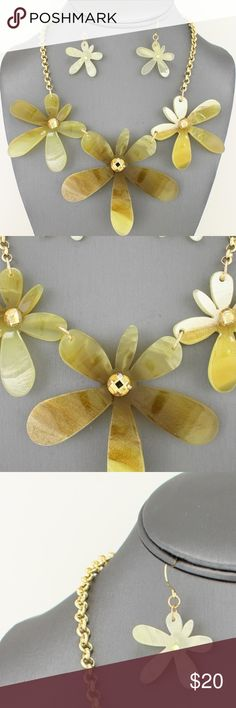 "Golden Yellow Flower Necklace Set Brand new golden yellow flower necklace set. Necklace measures 17"" long, 3"" wide with 3"" extender. #B1SANE8603YELG Jewelry Necklaces"