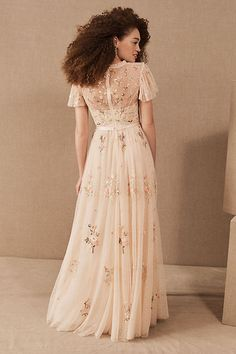 Apr 2020 - Needle & Thread Petunia Maxi Dress by BHLDN in Pink Size: Women's Dresses at Anthropologie Bhldn Wedding Dress, Boho Wedding Dress, Boho Dress, Bridal Gowns, Peach Wedding Dresses, Bridesmaid Dresses, Prom Dresses, Formal Dresses, Sun Dresses