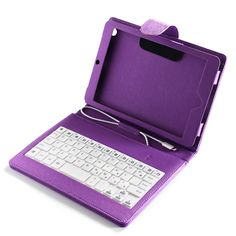 Purple PU Leather USB Keyboard Case Stand Cover with Stylus for Apple iPad Mini #UnbrandedGeneric