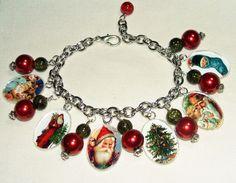 Vintage CHRISTMAS CARDS Charm Bracelet Altered Art XMAS by artalot
