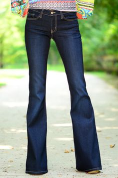 We're gonna get real honest here for a second and let y'all know that these jeans...they're not just jeans. They're life changers. Seriously, the material is so soft and has such a great amount of give, all while keeping this fabulous, super trendy shape! And what a perfect shape it is! Honestly, your butt is going to look soooo fiiiinneee in these dark wash bad boys! ;) Plus, the flare fit is just ultra flattering all over anyway! Tall girls, these are the bottoms you've been looking for...