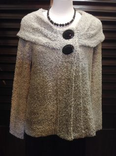 Willow - Black and white sweater with fold over neckline - $82