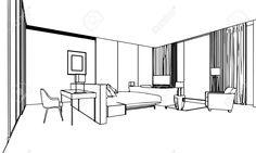 Skizze, Zeichnung Perspektive Eines Inter Raum Umreißen Lizenzfreie Fotos, Bilder Und Stock Fotografie. Image 44774171.