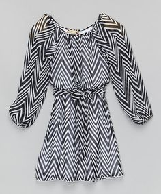 More style for my daughter: This Black & White Zigzag Sash Dress - Girls by Speechless is perfect! #zulilyfinds