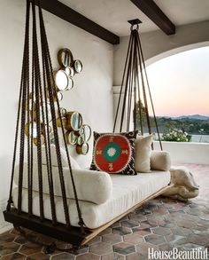 hanging outdoor bed house beautiful