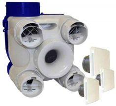 Unelvent KIT DECO AUTO VMC simple flux autoréglable 605341  /   Piquages démontables par 1/4 de tour - Régulateurs intégrés aux piquages - Maîtrise du débit cuisine par Convergent (brevet) : pas de réglage, pas d'encrassement - Caisson matière plastique - Particulièrement compact - Universalité - Maisons de T1 à T7 - Jusqu'à 4 sanitaires