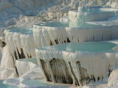 A must-do for Kusadasi visitors is the day trip to Pamukkale, location of Turkey's amazing limestone hot springs. Pamukkale, Landscape Photography Tips, Landscape Photographers, Digital Photography, Beautiful Places To Visit, Wonderful Places, Thermal Pool, Visit Turkey, Black And White Landscape