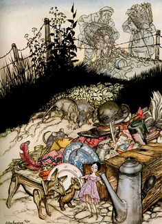 Jensina's Cottage, illustration to Poor Cecco by Arthur Rackham.