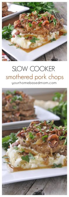 Crock Pot Smothered Pork Chops Dinner Recipe - Make delicious and tender pork chops in your slow cooker - these are a man pleaser- perfect for Father's Day or any day. (Paleo Soup In A Crock Pot) Crock Pot Slow Cooker, Slow Cooker Recipes, Cooking Recipes, Slow Cooking, Cooking Bacon, Recetas Crock Pot, Tender Pork Chops, Comfort Food, Pork Dishes