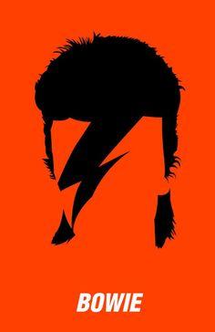 David Bowie - Aladdin Sane Silhouette - Mini Print