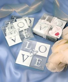 beach coasters wedding favor | LOVE Glass Coaster Set Wedding Favors with Ribbon and Tag