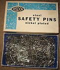 VINTAGE BOX RISDON STEEL SAFETY PINS #3 CLOSED NICKEL PLATED MADE IN U.S.A. - http://sewingpins.net/sewing/pins-pincushions/vintage-box-risdon-steel-safety-pins-3-closed-nickel-plated-made-in-u-s-a/
