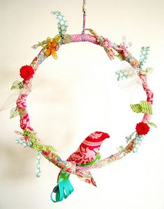birdy fabric wreath