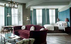 The exquisite Soho House Berlin hotel in Germany - Hotels Design Architecture Soho Hotel, Soho House Berlin, Berlin Hotel, Hotel Inspired Bedroom, Pantone 2015, Pantone Color, Marsala Pantone, Babington House, Turquoise Room