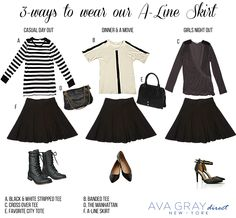 """Our A-line skirt is the perfect """"dress up"""" or """"dress down"""" staple for your closet! Wear it with our casual long sleeve stripped shirt for a more edgy look or with our banded tee for a more girly vibe Dinner And A Movie, Stripped Shirt, Edgy Look, Band Tees, A Line Skirts, Clothing Ideas, Style Guides, What To Wear, Dress Up"""