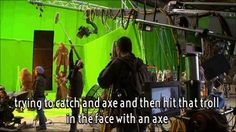 """(gif) - """"My first shot. My first day. On a green screen standing on Aidan's shoulders in a wire harness, trying to catch an axe and then hit that troll in the face with an axe."""