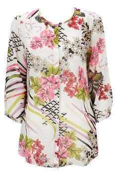 Ivory Oriental Print Shirt
