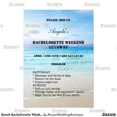 "Beach Bachelorette Weekend Template Invitation Hen or bachelorette weekend getaway invitation program template with a colorful painting of a beach. You can customize, drag or delete text fields. Please be sure to also customize the back of the invitation. It is also possible to change fonts and more. Choose ""customize it"" for all options."