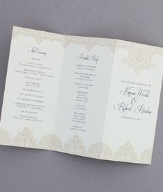 expressions trifold program shops wedding programs and products