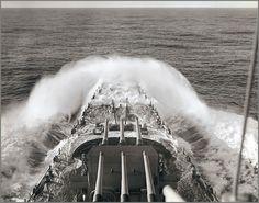 USS North Carolina in heavy seas