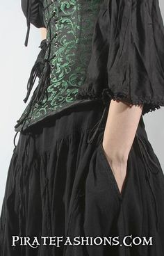 The FuFu Skirt be arrrrr rough skirt fer wench n' lady pirates that want something that be more tough wearing to sword fight in•This full skirt has elastic &amp