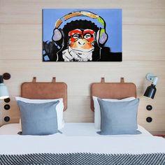 'Music Chimp' Canvas Artwork