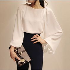 Lantern Sleeves Solid Color Casual Style Chiffon Shirt For Women