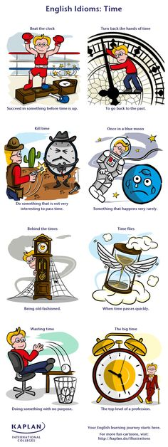 Learn English time idioms with Kaplan's illustration. Don't fall behind the times. Hit the big time and discover how to speak English using fun time idioms!