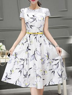 Ericdress Plant Print Expansion Round Neck Casual Dress Casual Dresses