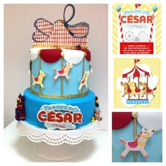 Painted cake, park cake, carrousel cake, sugar painted roller coaster, sugar wizard sculpture, sugar Tin Can Alley game by Confiserie de Lu