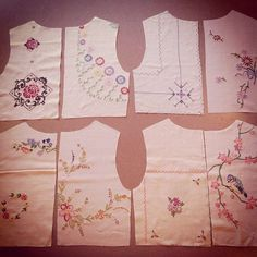 good use of hankies or embroidery vintage tablecloths Vintage Embroidery, Vintage Sewing, Vintage Linen, Embroidery Transfers, Embroidery Designs, Embroidery Thread, Sewing Clothes, Diy Clothes, Sewing Crafts