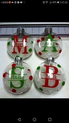 Split Letter ornaments with snow. Clear Christmas Ornaments, Vinyl Ornaments, Christmas Ornament Crafts, Personalized Christmas Ornaments, Christmas Decorations, Ball Ornaments, Custom Ornaments, Ornaments Ideas, Teacher Ornaments