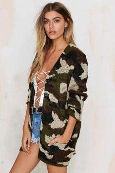 On a Warpath Camo Cardigan | Shop Clothes at Nasty Gal!