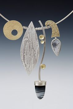 Lona Northener Jewelry:  Necklace of Sterling, 18K Bimetal, Drusy Agate and Tuxedo Agate.