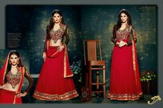Vivacious red lehengha choli and salwar kameez will give you stunning look with embroidery design on blouse and lace patti border. latest designer collection of salwar kameez available at addsharesale, an online E-commerce portal where suppliers meets sellers to smoothly manage clothing products. www.addsharesale.com