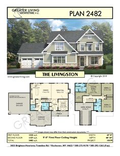 Greater Living Architecture in Rochester, NY provides premier home plans for any stage of life from Starter to Luxury to Empty Nester homes. House Plans 2 Story, Sims House Plans, Family House Plans, Two Story Homes, House Floor Plans, Sims 4 House Design, Floor Plan Layout, House Blueprints, Architectural Design House Plans