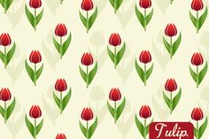 Free Tulip Seamless Vector Pattern Preview