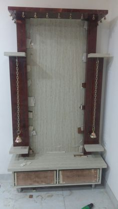 Home Decorators Collection Vanity - TV-Gerät Temple Room, Temple Design For Home, Altar, Mandir Design, Pooja Mandir, Pooja Room Door Design, D House, House Front, Room Partition Designs