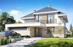 Projekt domu piętrowego Oszust o pow. 136,4 m2 z obszernym garażem, z dachem kopertowym, z tarasem, sprawdź! 2 Storey House Design, Duplex House Design, Modern House Design, Best Architects, Facade House, Home Fashion, Architecture Design, House Plans, New Homes