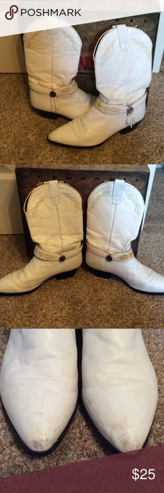 Laredo White Cowboy Boots White cowboy boots. These are gently used and have some scuffs, see pictures. They have lots of life left. Size Men's 5.5, Women's 7.5. I'm an 8 and they fit me fine. Comes with box! Any questions, please ask. Laredo Shoes Heeled Boots