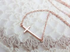 Hey, I found this really awesome Etsy listing at https://www.etsy.com/listing/164618458/sideway-cross-necklace-rose-gold-cross