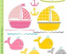 Boat Clip Art  Whale Clip Art  Digital Clip Art Cute Whales And Boat