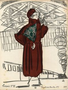 Raoul Dufy 1920 ''Croquis de Modes'' N°6 Fashion Coat Gazette du Bon Ton
