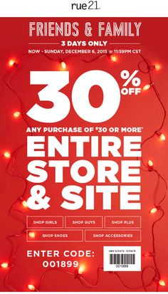Pinned December 5th: 30% off at rue21 or online via promo code 001899 #coupon via The #Coupons App Shopping Coupons, Girls Shopping, Rue 21, Accessories Shop, December, Coding, App, Apps, Programming